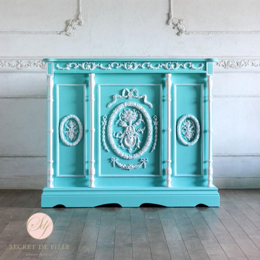 レジカウンター バーテーブル アンティーク 収納 受付カウンター 姫系 ロココ クラシック グリーン ホワイトレリーフ 幅120cm 5050-1.2-61w