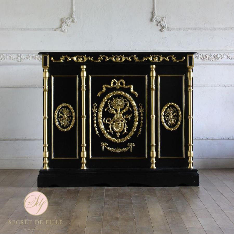 レジカウンター バーテーブル アンティーク 収納 受付カウンター 姫系 ロココ クラシック ブラック ゴールドレリーフ 幅120cm 5050-1.2-8g