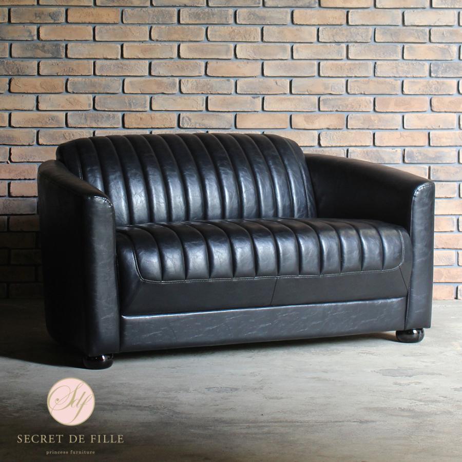 ビンテージ ソファ 2人掛け アンティーク アールデコ レトロ イギリス イギリス シャインブラックPUレザー 合皮 vr2p51k