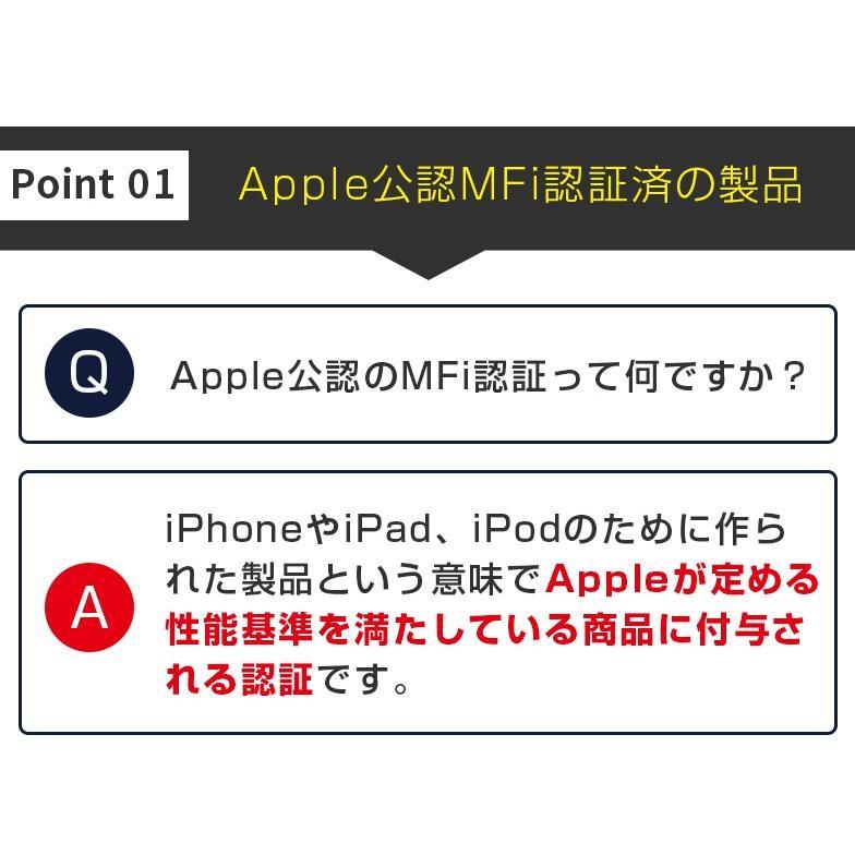 Lightningケーブル 2m mfi認証 ライトニングケーブル iPhone 認証 1m 50cm 15cm secu 05