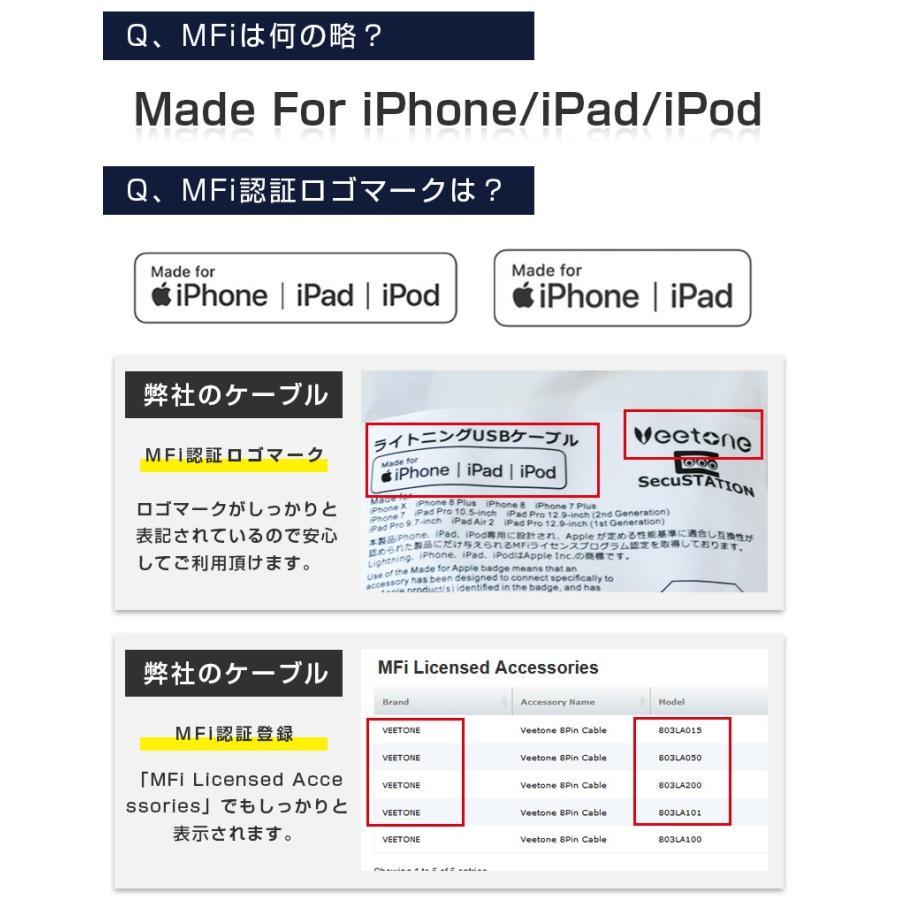 Lightningケーブル 2m mfi認証 ライトニングケーブル iPhone 認証 1m 50cm 15cm secu 06