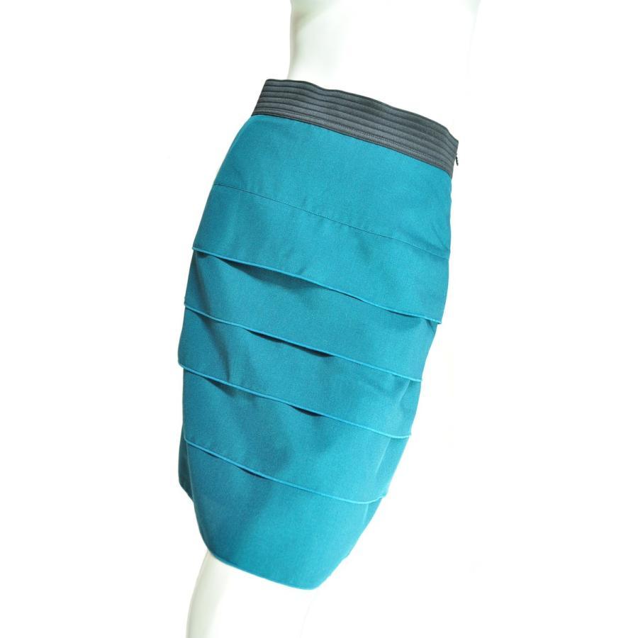 5段フリルタイトスカート フェミニンで上品 ウエストブラック グリーン Seduce|seduce|02