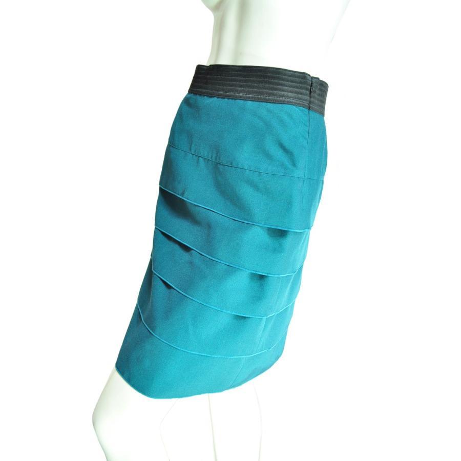 5段フリルタイトスカート フェミニンで上品 ウエストブラック グリーン Seduce|seduce|03