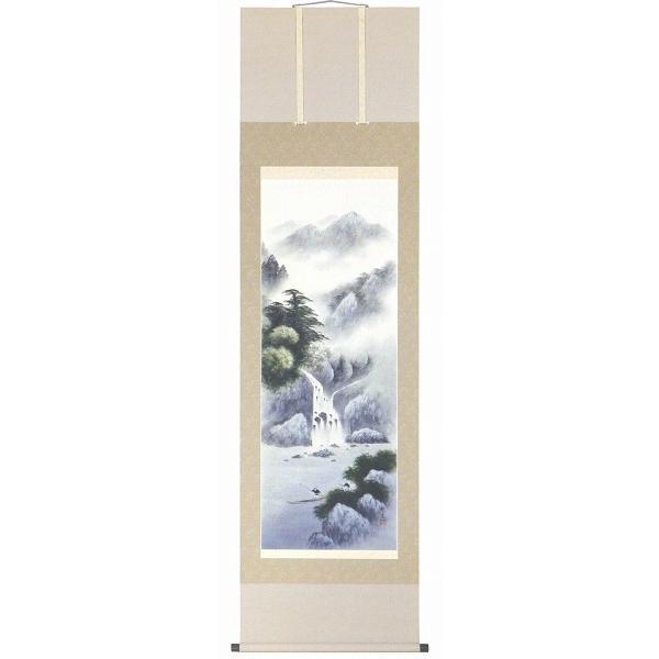 掛け軸 倉地邦彦  「冷韻山水」 日本画 真筆 尺五立 三段表装 桐箱入り 普段掛けに 掛軸 風景画 RR562