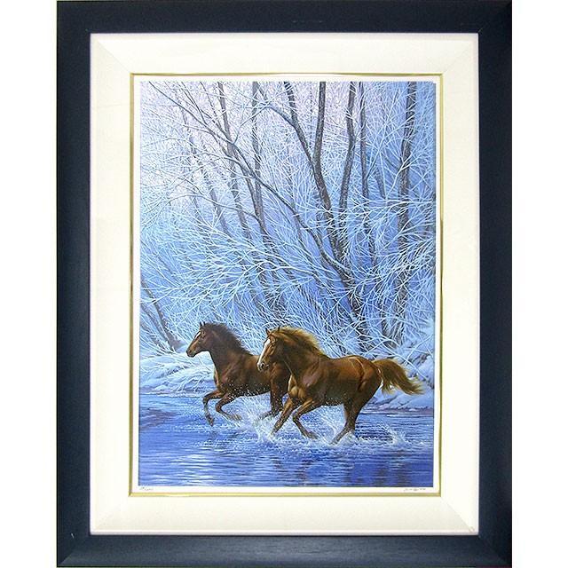 ジョウ・ナイトウ 作品「春の予感」ミクストメディア 額付き 動物画 二頭の駆ける馬 サラブレッド 大型絵画 午 B4711