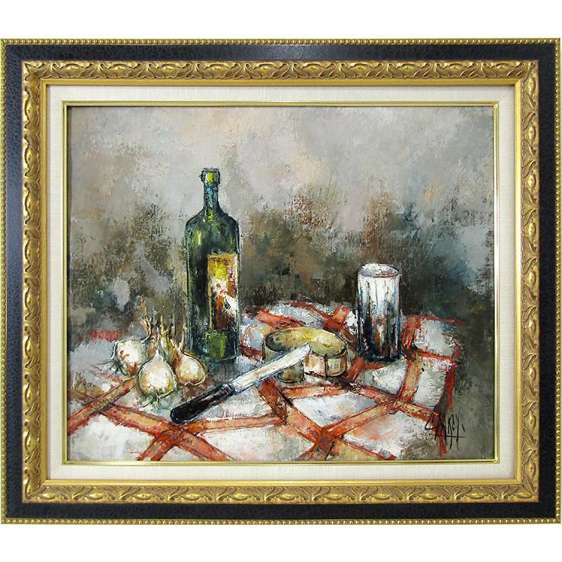 C·ファルシ 「ワインとチーズの食卓」油彩画 F12号 真筆 美術館展示クラスの豪華額付き FK54