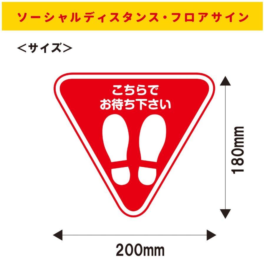 【6枚セット】(こちらでお待ちください:三角) フロアサイン 床シール ステッカー レジ コンビニ スーパー ソーシャルディスタンス 感染予防対策|seibidou|02