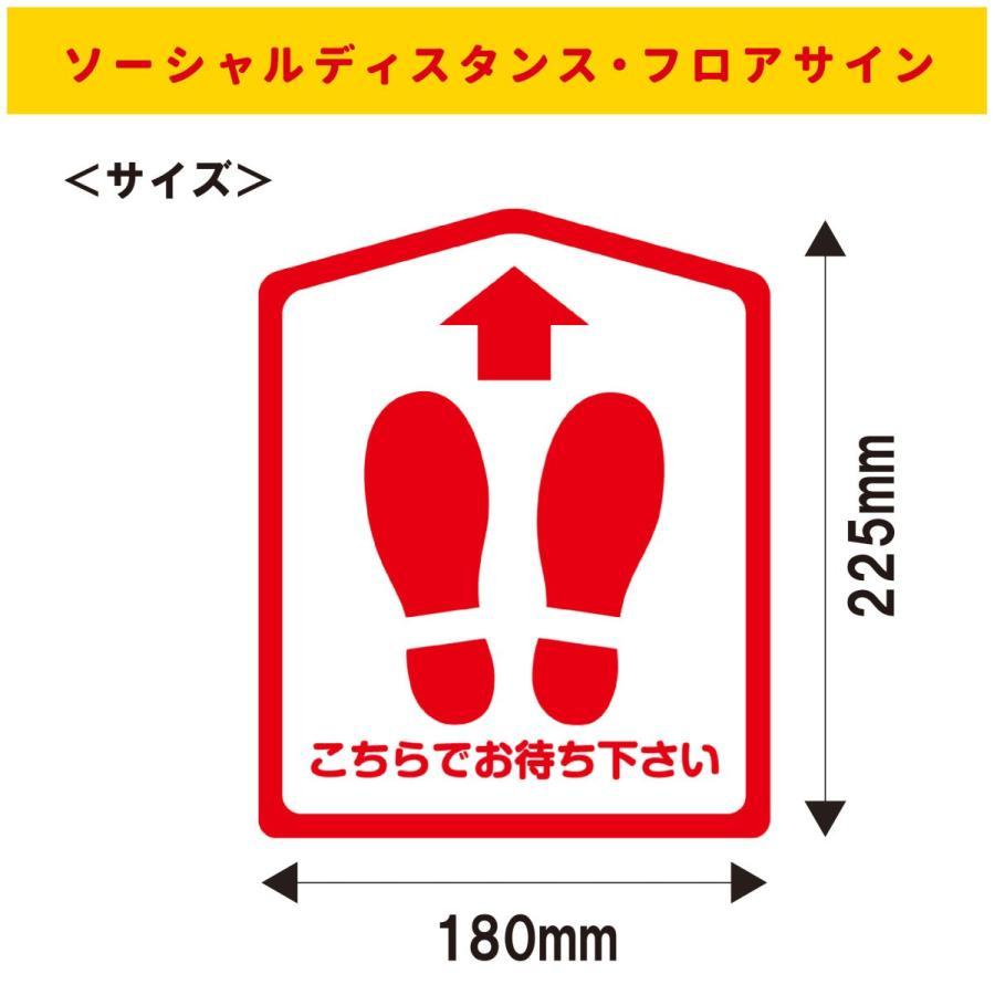 【6枚セット】(こちらでお待ちください:多角) フロアサイン 床シール ステッカー レジ コンビニ スーパー ソーシャルディスタンス 感染予防対策 seibidou 02