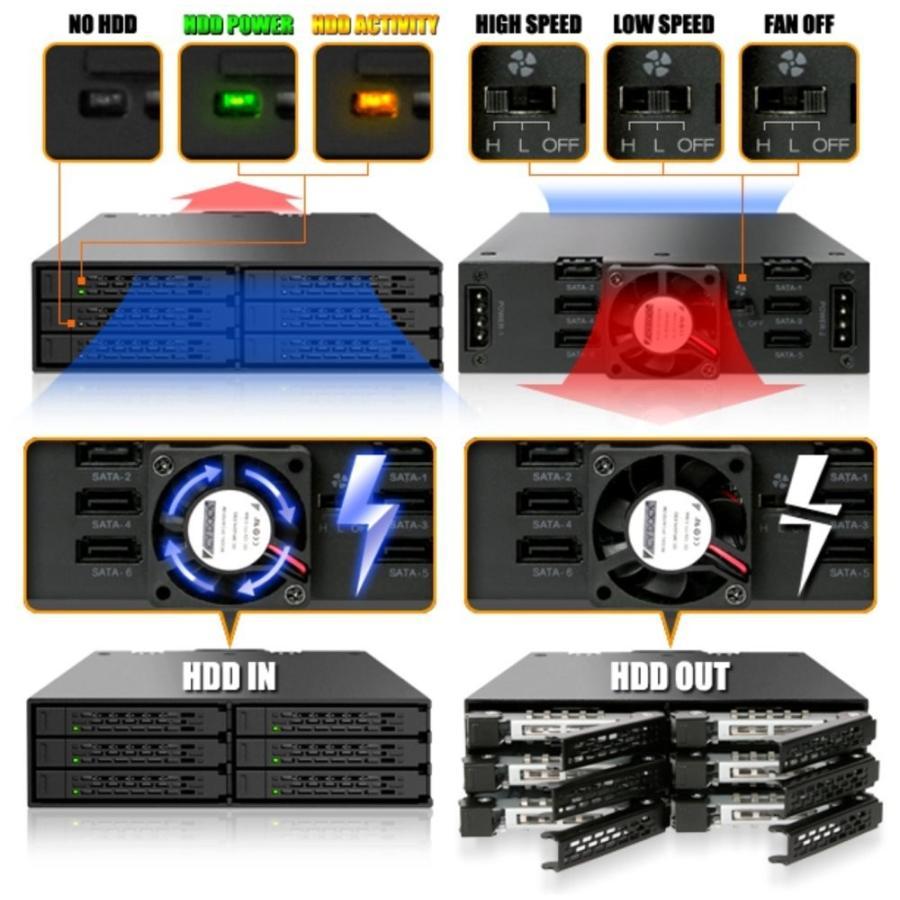 MB996SP-6SB リムーバブルケース 6 x 2.5インチ SATA 3 HDD / SSD 搭載可能 seijinshoji 07