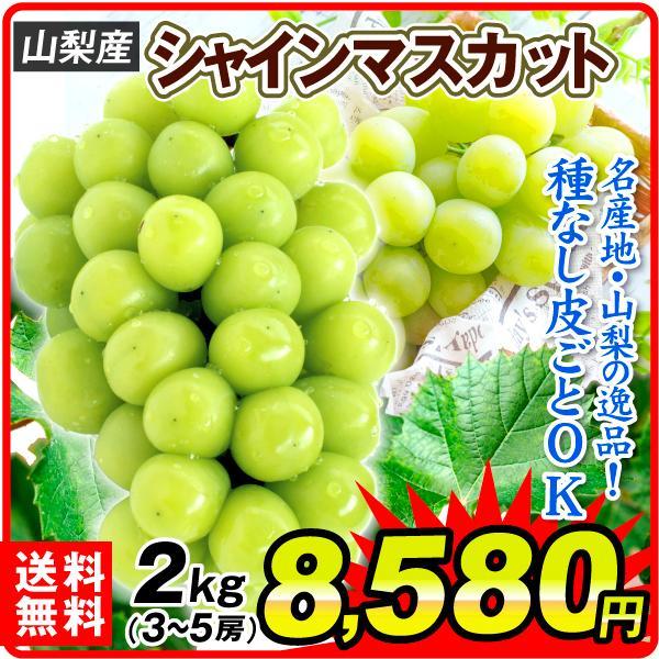 ぶどう 山梨産 シャインマスカット 約2kg 1組 ぶどう 国華園 seikaokoku