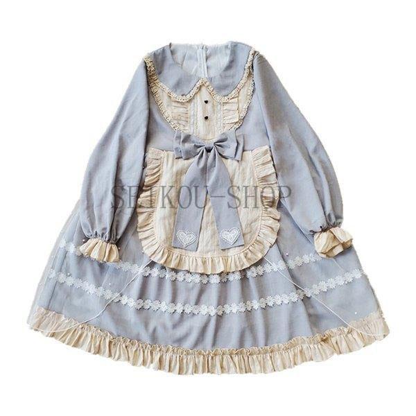ワンピース ロリータ 長袖 おやすみウサギ かわいい 真珠 オーバースカート S M L ライトブルー ブラック フリル|seikou-shop