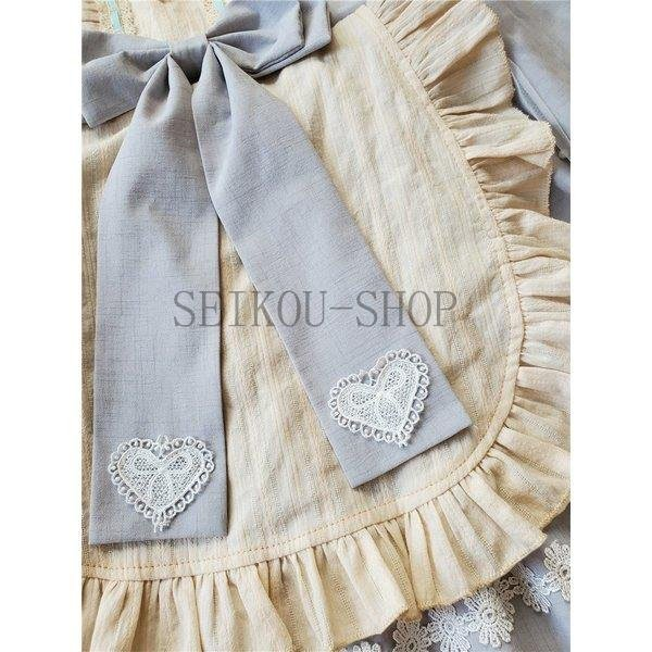 ワンピース ロリータ 長袖 おやすみウサギ かわいい 真珠 オーバースカート S M L ライトブルー ブラック フリル|seikou-shop|04