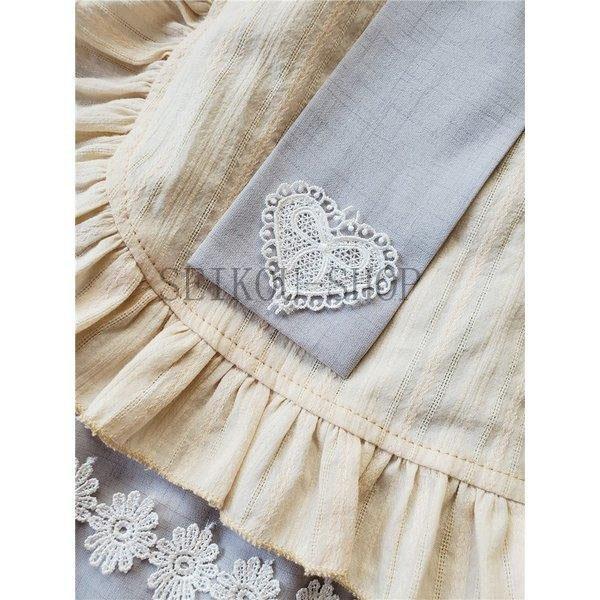 ワンピース ロリータ 長袖 おやすみウサギ かわいい 真珠 オーバースカート S M L ライトブルー ブラック フリル|seikou-shop|05