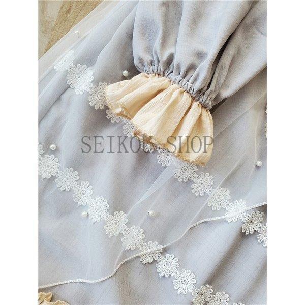 ワンピース ロリータ 長袖 おやすみウサギ かわいい 真珠 オーバースカート S M L ライトブルー ブラック フリル|seikou-shop|06