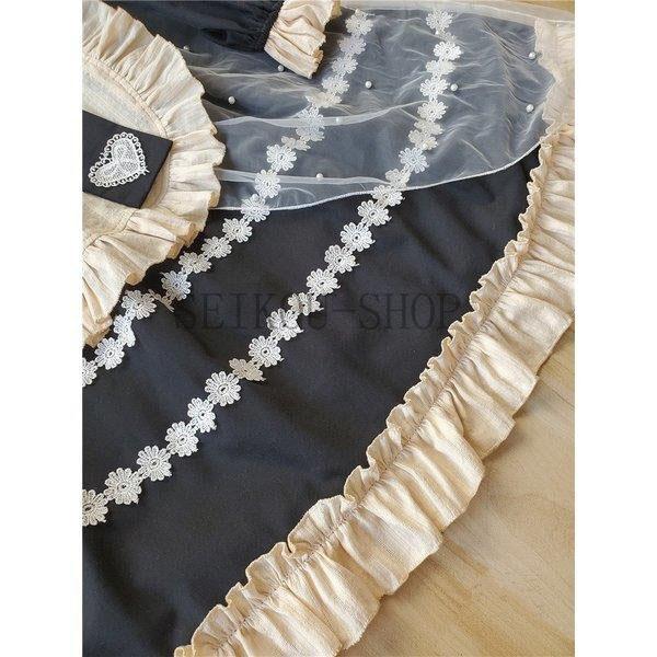 ワンピース ロリータ 長袖 おやすみウサギ かわいい 真珠 オーバースカート S M L ライトブルー ブラック フリル|seikou-shop|07