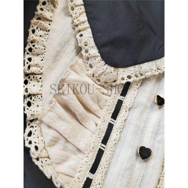 ワンピース ロリータ 長袖 おやすみウサギ かわいい 真珠 オーバースカート S M L ライトブルー ブラック フリル|seikou-shop|08