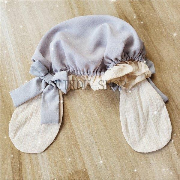 ワンピース ロリータ 長袖 おやすみウサギ かわいい 真珠 オーバースカート S M L ライトブルー ブラック フリル|seikou-shop|09
