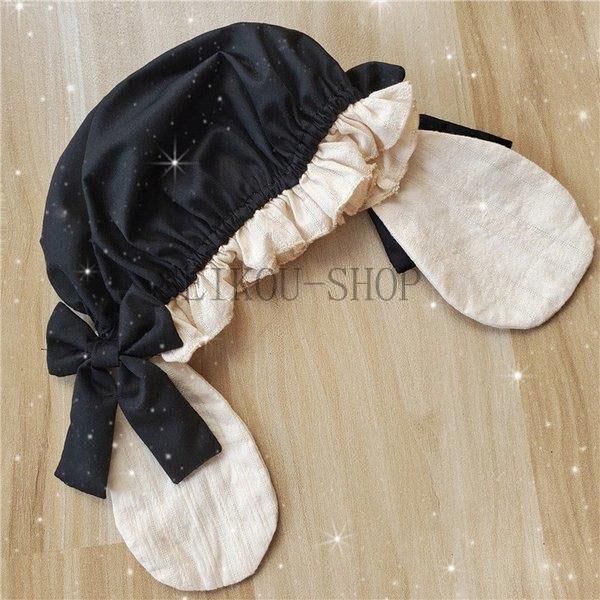ワンピース ロリータ 長袖 おやすみウサギ かわいい 真珠 オーバースカート S M L ライトブルー ブラック フリル|seikou-shop|10