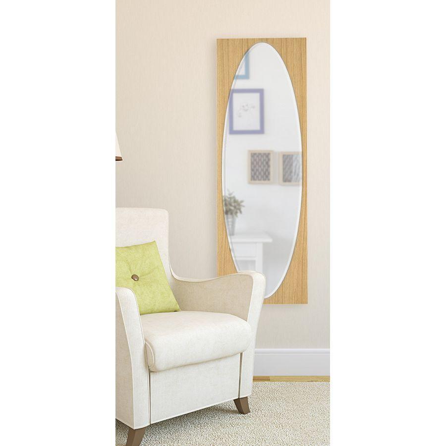 おしゃれ 鏡 ミラー 壁掛けミラー 壁掛けミラー ウォールミラー 全身 姿見 北欧 玄関 洗面 トイレ 楕円形 楕円 ナチュラル ブラウン 茶 ウォールミラー HCL-125 NA 風水