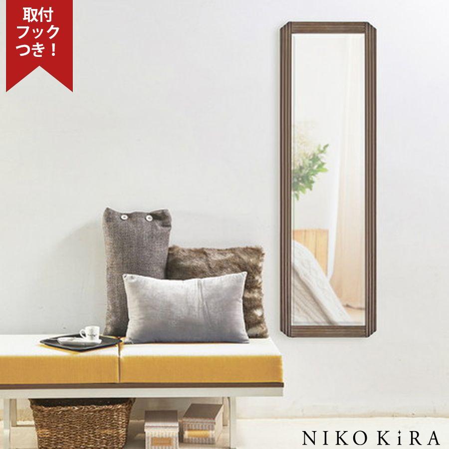 おしゃれ おしゃれ 鏡 ミラー 壁掛けミラー ウォールミラー 全身 姿見 北欧 玄関 洗面 トイレ 長方形 木目 木製 茶 ブラウン ナチュラル 木 マルシア 3512 風水