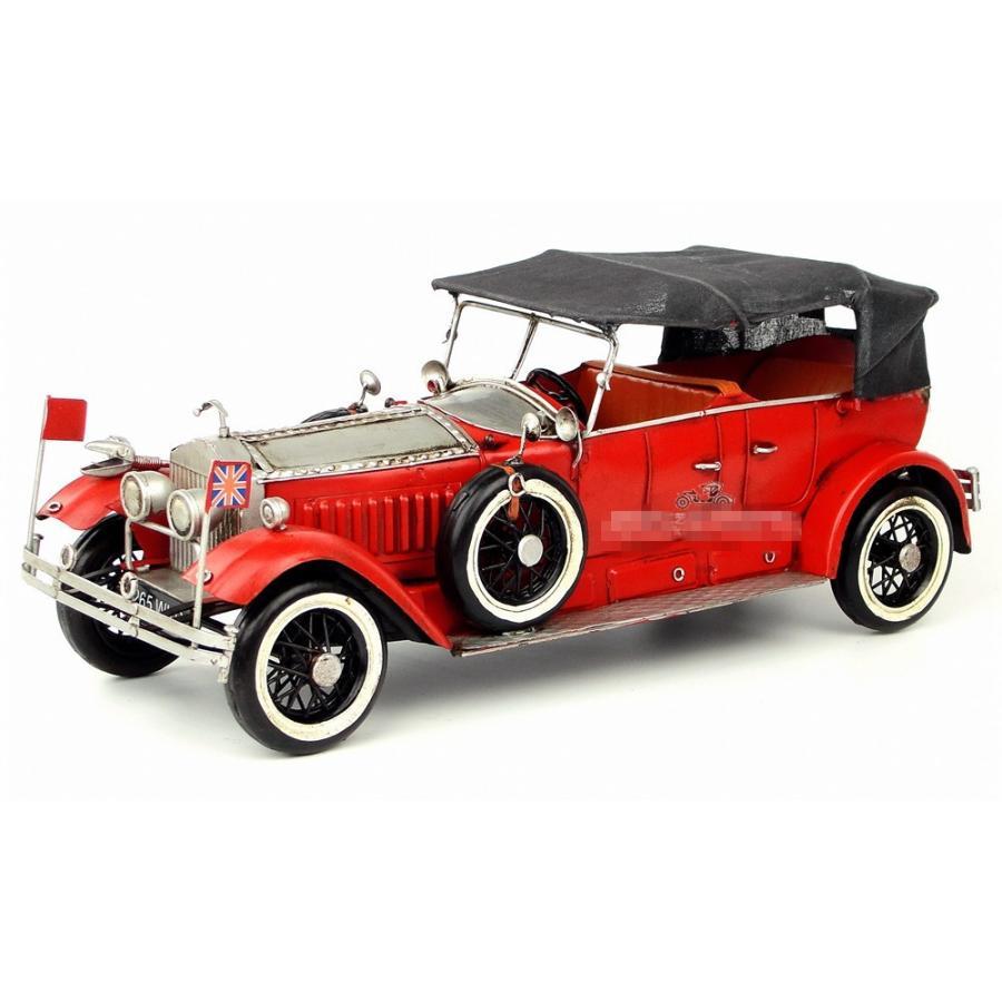 ロールスロイス シルヴァーゴースト Rolls-Royce sliver ghosts vintage car レッド ブリキ製 オールドカー ビンテージカー (全て手作り)mot171