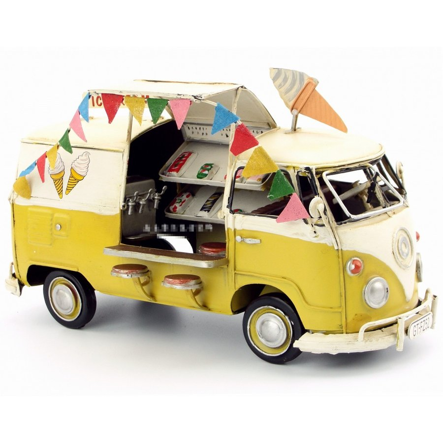 アイスクリーム販売車 イエロー USA ice cream car ブリキ製 オールドカー ビンテージカー (全て手作り)mot182