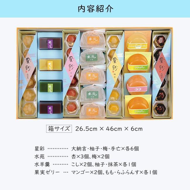 お中元/3種のゼリーと水羊かんの豪華セット「ほうせんか」/ひんやり夏の和菓子/甘納豆の雪華堂|sekkado|02