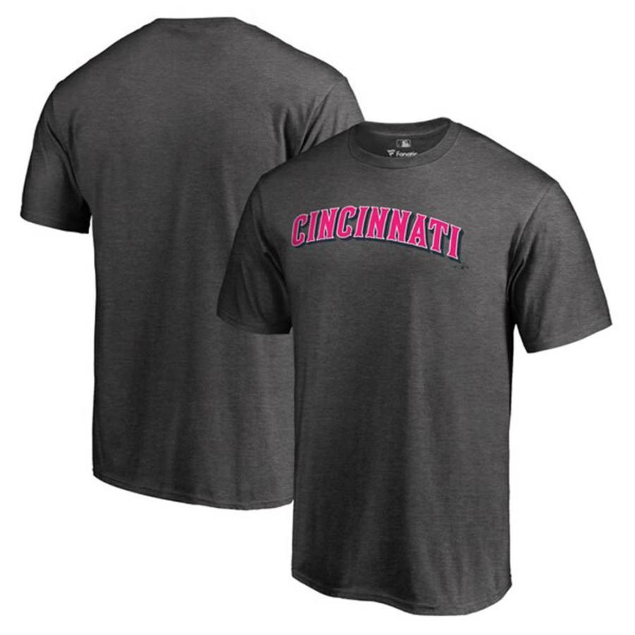 MLB レッズ Tシャツ 2019 マザーズデー 母の日 ピンク ワードマーク グレー
