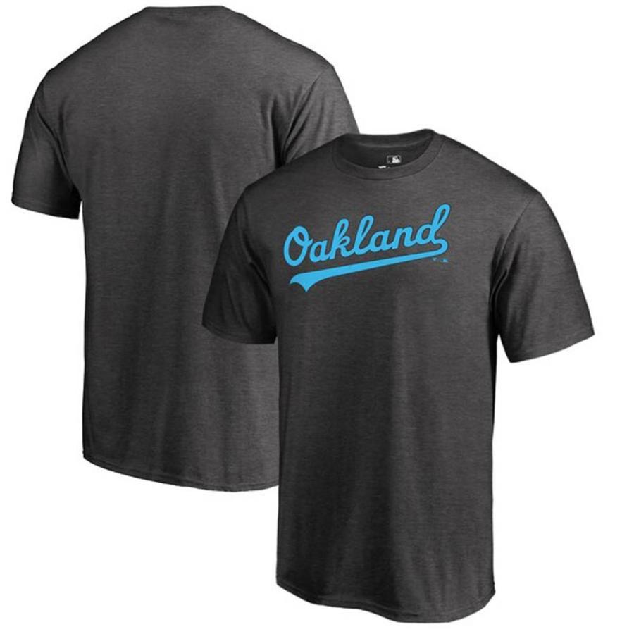 MLB アスレチックス Tシャツ 2019 ファーザーズデー ブルー ワードマーク グレー