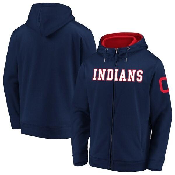 人気新品 MLB パーカー クリーブランド・インディアンス フーディー マット フリース フルジップ ネイビー【MLB1911p】, MARUKUMA 6994c6a2