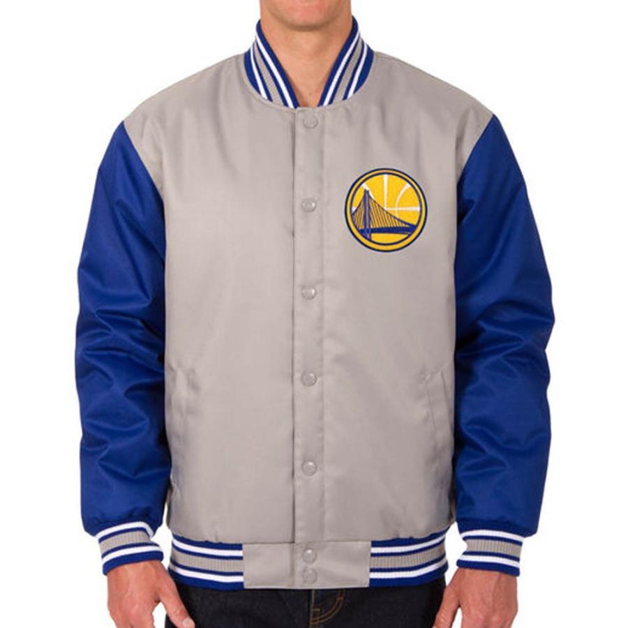 NBA ウォリアーズ ポリツイル ロゴ ジャケット/ジャンパー JH デザイン/JH Design グレー/ロイヤル【1910価格変更】