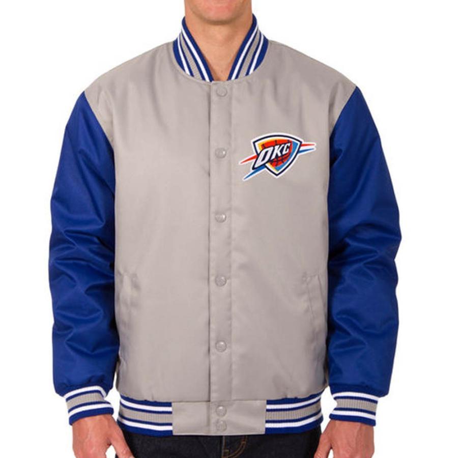 NBA サンダー ポリツイル ロゴ ジャケット/ジャンパー JH デザイン/JH Design グレー/ロイヤル【1910価格変更】