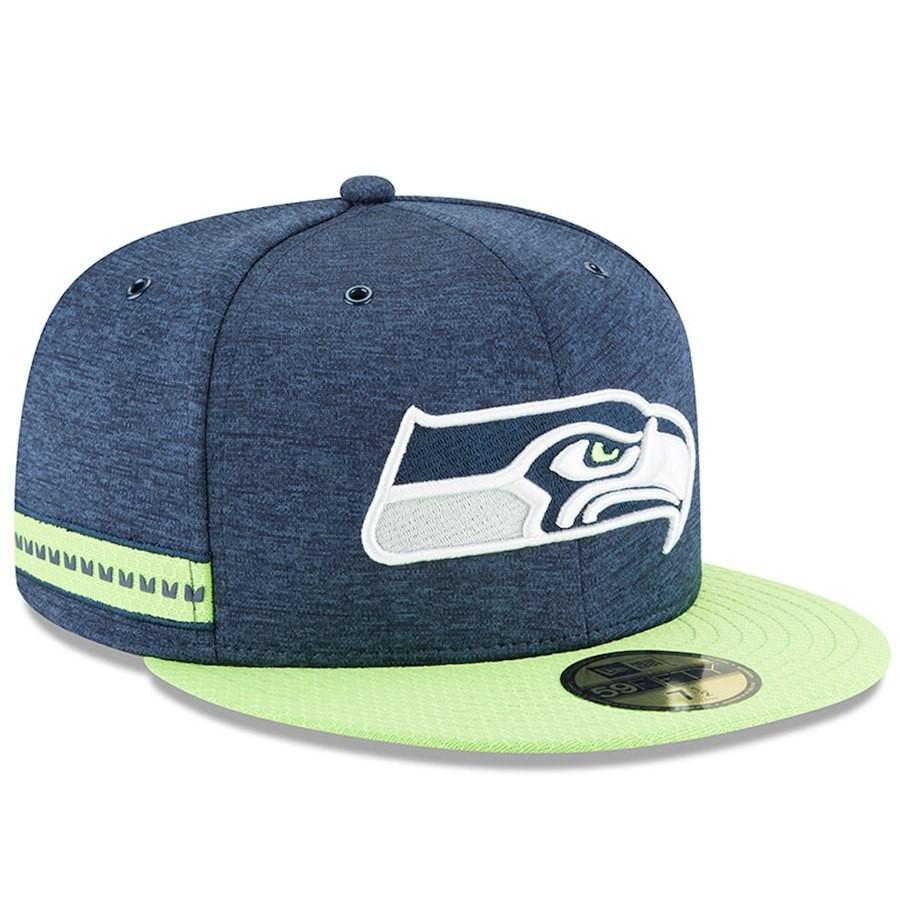 NFL シーホークス キャップ 帽子 59FIFTY 2018 選手着用 サイドライン ホーム ニューエラ/New Era ネイビー
