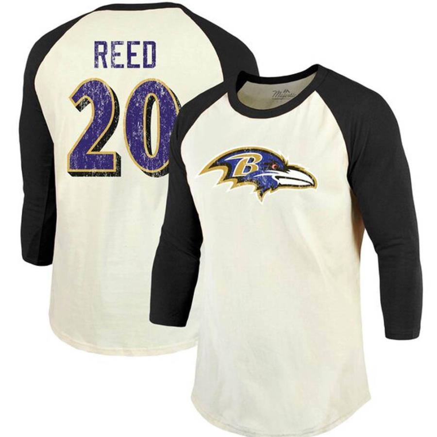 NFL レイブンズ エド・リード Tシャツ ヴィンテージ 3/4スリーブ マジェスティック/Majestic クリーム/ブラック