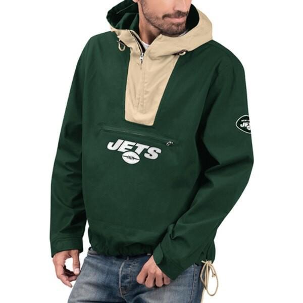 NFL NFL NFL ジェッツ ジャケット/スタジャン エクスペディション アノラック ハーフ ジップ プルオーバー G-III グリーン カーキ ea1