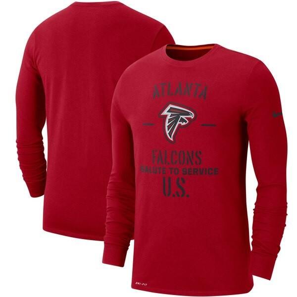 NFL ファルコンズ Tシャツ 2019 サルート トゥ サービス サイドライン パフォーマンス ロング スリーブ ナイキ/Nike レッド