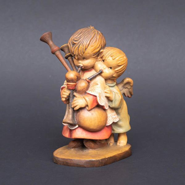 アンリ 木彫人形『The Helper(バグパイプを吹く少年と天使)』|selectors