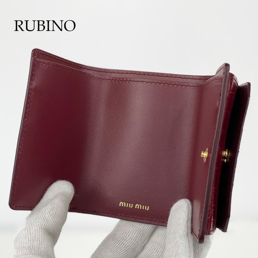 ミュウミュウ MIUMIU MADRAS レター型 ミニ財布 三つ折り財布 コンパクト ブラック NERO ルビー RUBINO グリーン SMERALDO 5MH0212B8G|selectshopfelice