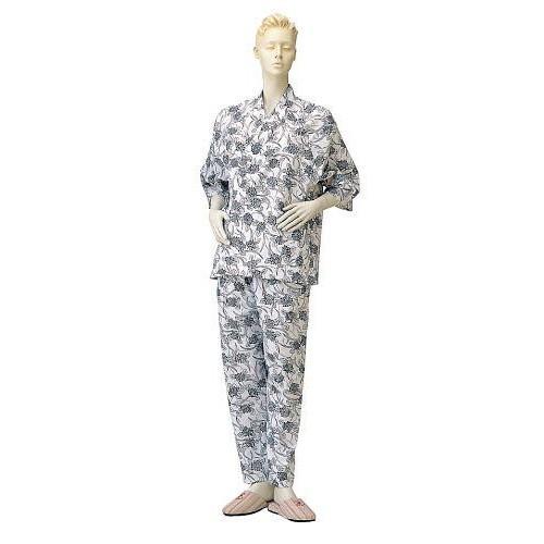 【即納】 コベス 婦人パジャマ型ねまき(おくつろ着)ネイビー No.73-介護用品