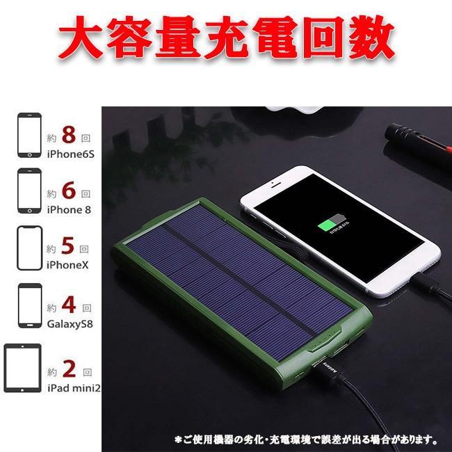 モバイルバッテリー ソーラーモバイルバッテリー 24000mAh 大容量 太陽光充電 パワーバンク ソーラー充電器 スマホ アウトドア iPhone Android|selectshoptoitoitoi|12