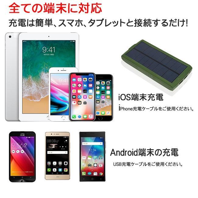 モバイルバッテリー ソーラーモバイルバッテリー 24000mAh 大容量 太陽光充電 パワーバンク ソーラー充電器 スマホ アウトドア iPhone Android|selectshoptoitoitoi|15