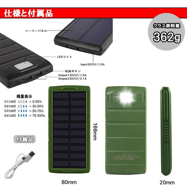 モバイルバッテリー ソーラーモバイルバッテリー 24000mAh 大容量 太陽光充電 パワーバンク ソーラー充電器 スマホ アウトドア iPhone Android|selectshoptoitoitoi|05