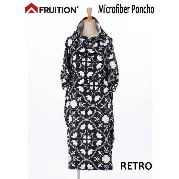Fruition,フリューション/サーフィン/袖ありお着替えポンチョ/マイクロファイバー/RETRO・ブラック