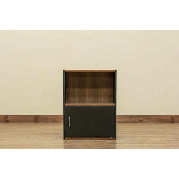 2段ラック 扉1枚つき シンプルラック 本棚 収納 ブラック ホワイト 送料無料 hmp22|semins-zakaa|02