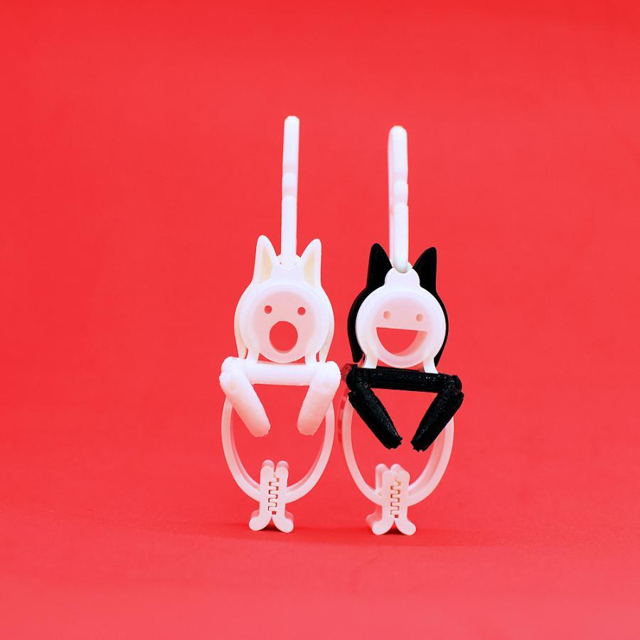 TLTLクリップ 2個セット(黒猫と白猫 動かせる手) sentakuclip 02