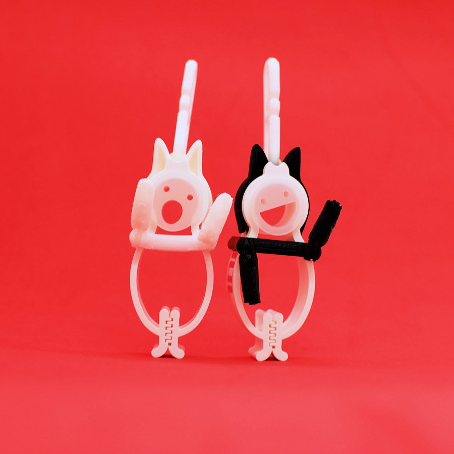 TLTLクリップ 2個セット(黒猫と白猫 動かせる手) sentakuclip 05