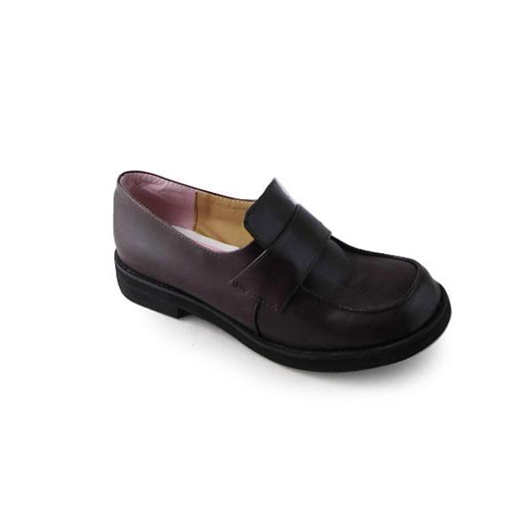 ダークチョコレートカラー ロリィタ靴 チャンキーヒール パーティー ロートップシューズ 可愛い 丸いつま先 sentyuria 03