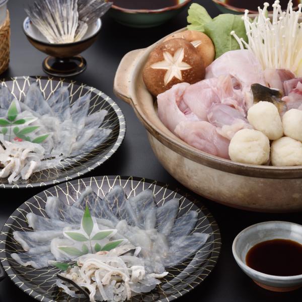 ふぐ フグ とらふぐ刺しフグチリ「得々ふぐ刺身ふぐ鍋セット2人前/超冷」|senzaki-kiraku