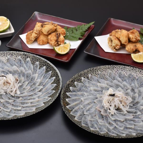ふぐ フグ ふぐ刺し 超冷 ふぐ唐揚付 宴会用ふぐ刺身4人前x2皿 売り出し 定番から日本未入荷