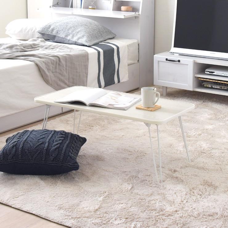 ローテーブル 北欧 折りたたみ テーブル センターテーブル コンパクト 白 ホワイト シンプル おしゃれ かわいい ナチュラル 木目 長方形 8040|sesame-kagu|04